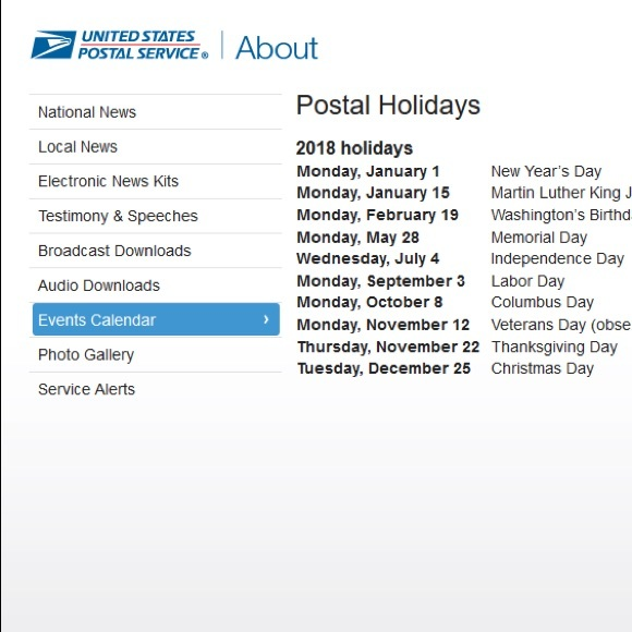 is the post office open tomorrow memorial day